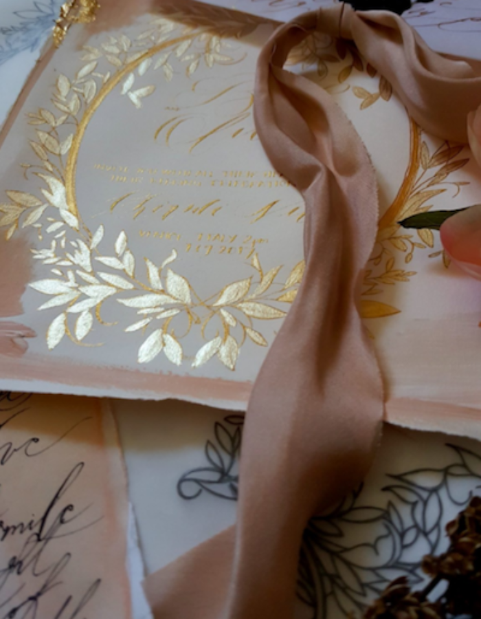 Unique & Luxury Handmade Wedding Invitations with gold calligraphy