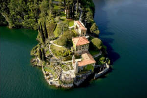 20 Luxury Wedding Venues in Italy Villa del Balbianello birds eye view of the hotel surrounded by a lake