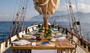 20 Luxury Wedding Venues in Italy luxury boat ride, lunch laid out on boat