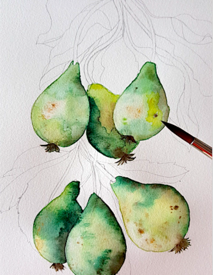 Custom Hand Painted Wedding Invitations -pears