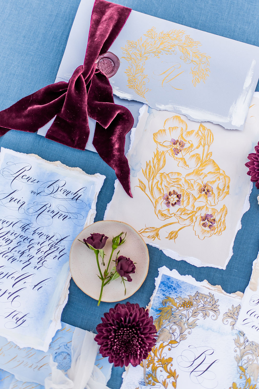 Luxury Wedding Venues in Italy wedding stationery with blue designs