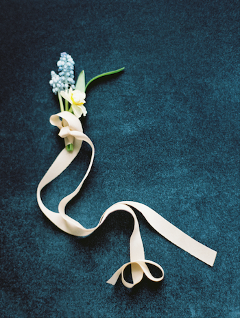 Fine Art Wedding Inspiration blue boutonneire with cream ribbon