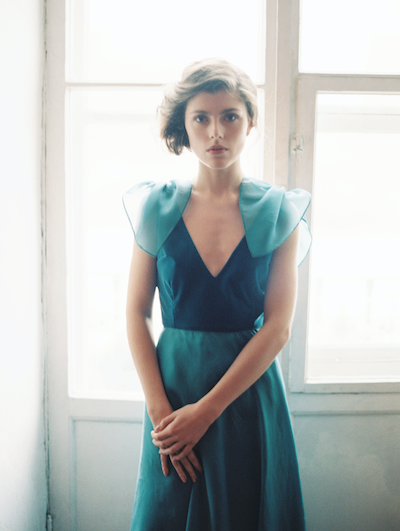 Fine Art Wedding Inspiration blue velvet wedding gown with light streaming through