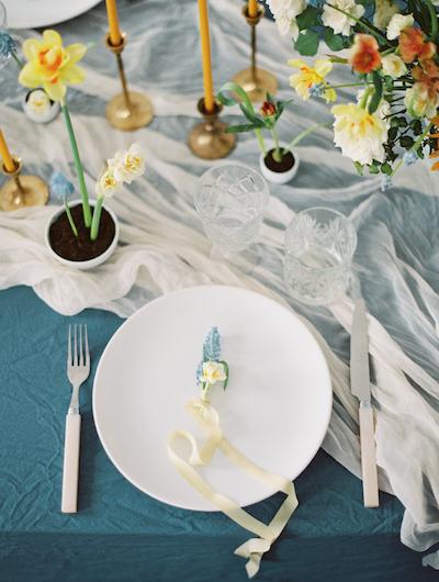 Fine Art Wedding Inspiration boutonniere on plate