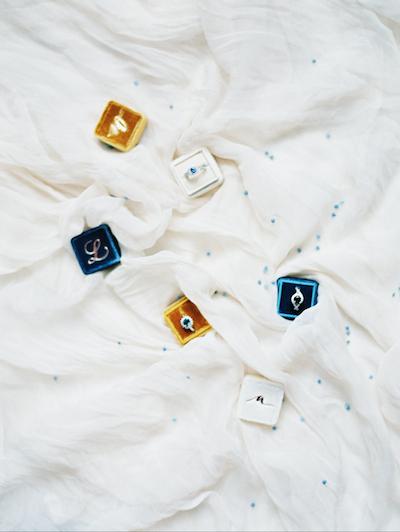 Fine Art Wedding Inspiration gold white and navy blue velvet ring boxes