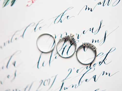Fine Art Wedding Inspiration menu close up with calligraphy and rings