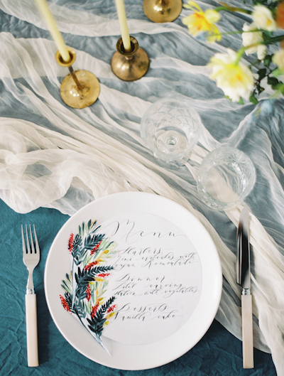 Fine Art Wedding Inspiration menu with calligraphy and hand painted florals
