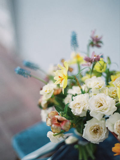 Fine Art Wedding Inspiration wedding flower ideas with blue, pink and yellow colours