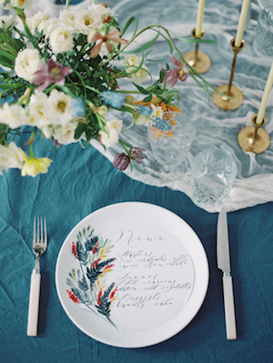Fine Art Wedding Inspiration wedding menu with glasses and flowers