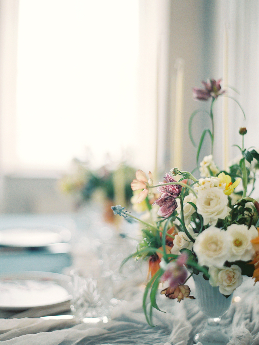 Fine Art Wedding Inspiration white and blue flowers
