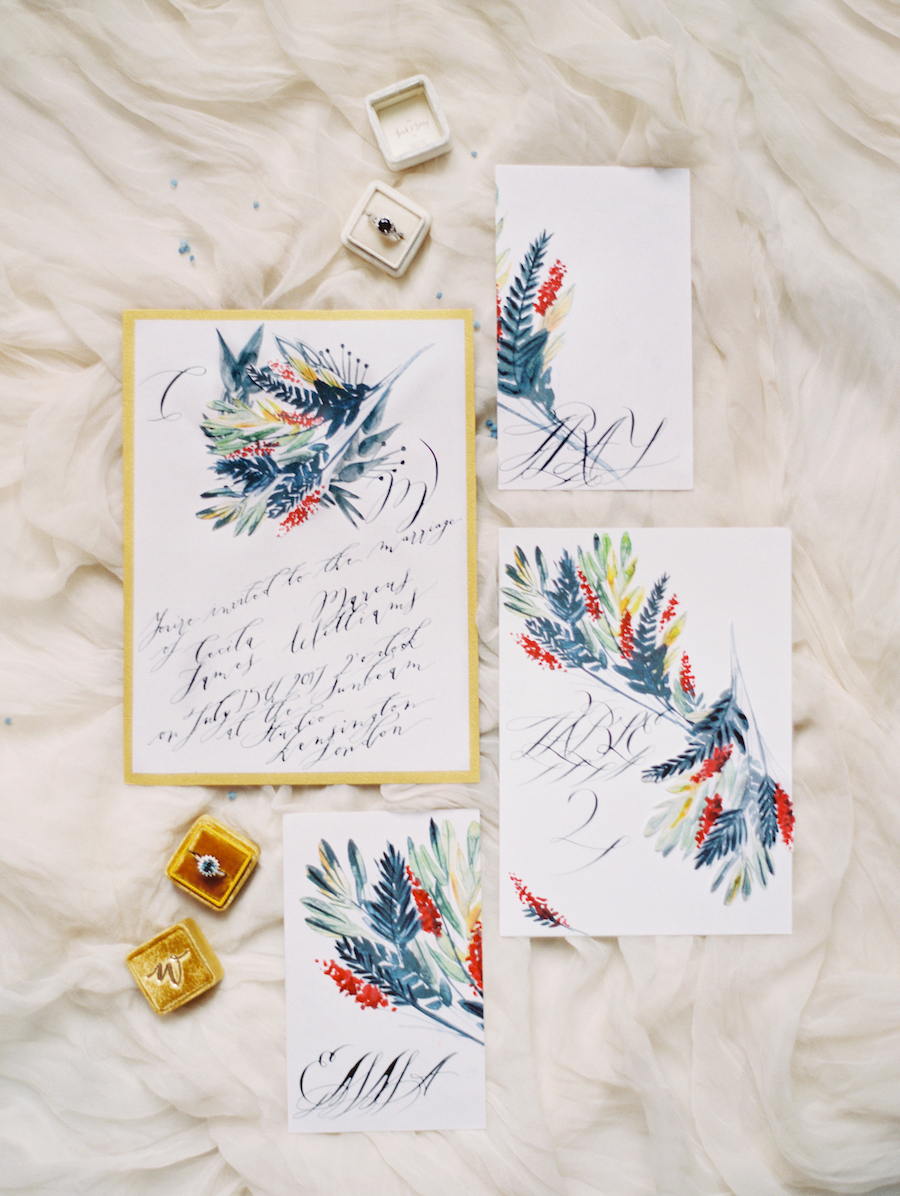 Fine Art Wedding Inspiration with blue watercolour wedding invitation suite