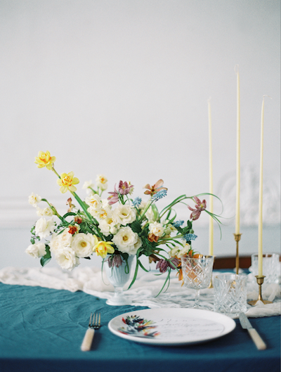 Fine Art Wedding Inspiration yellow and white flowers with hand painted menu