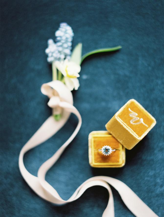 Fine Art Wedding Inspiration yellow velvet ring box with ring