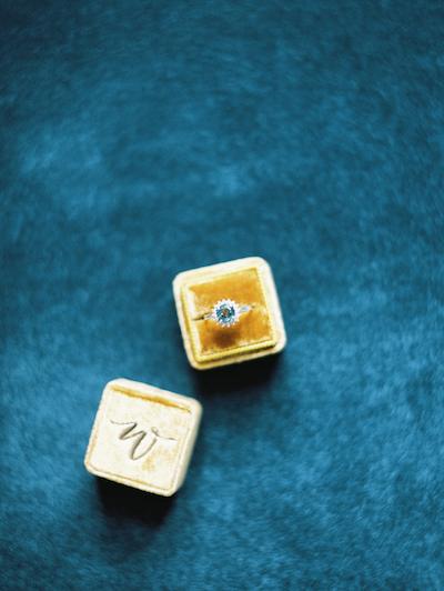 Fine Art Wedding Inspiration yellow velvet ring box