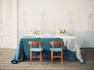 Fine Art Wedding table with blurry images