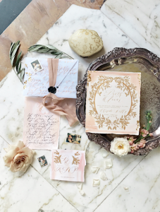 Handwritten Calligraphy Wedding Invitations envelope with details card and calligraphy rsvp