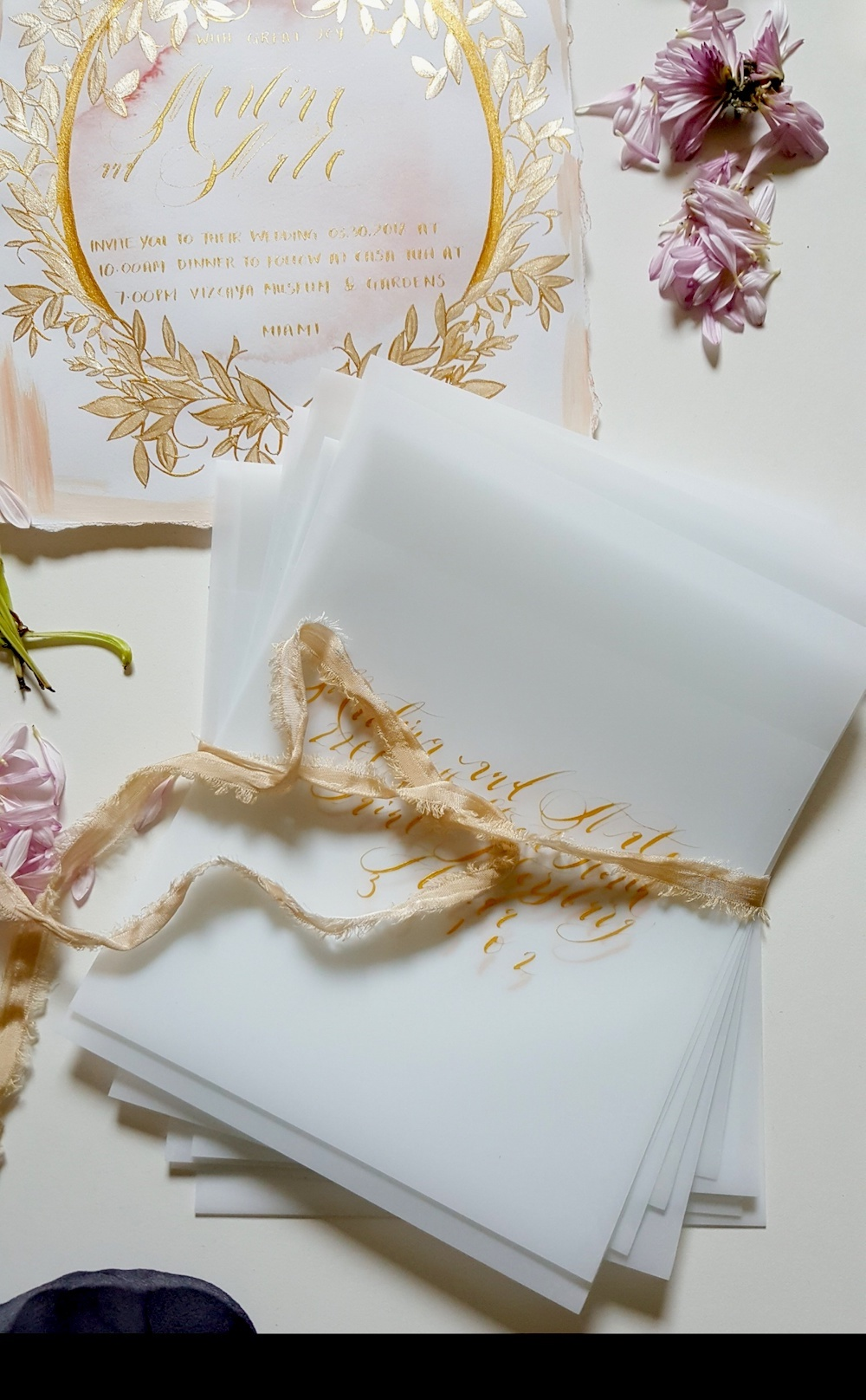 Handwritten Calligraphy Wedding Invitations large vellum envelopes ...