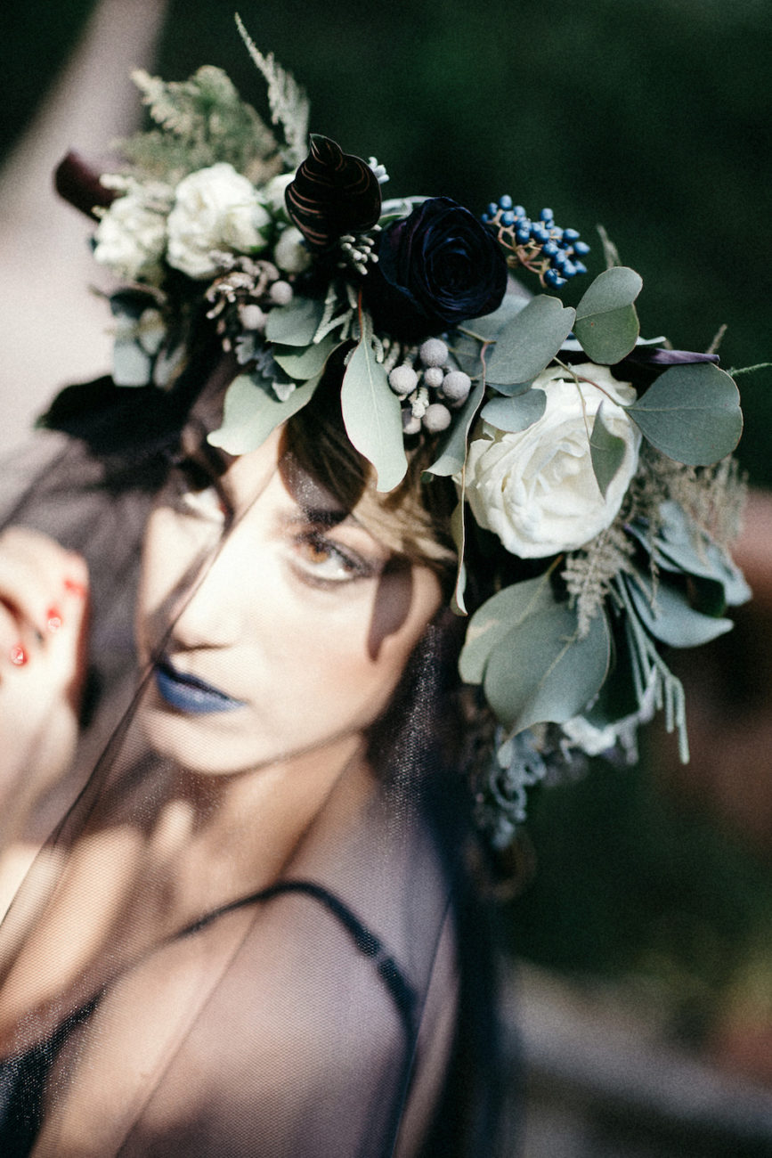 Style Shoot in Tuscany, Italy bride wearing black flowers flower crown