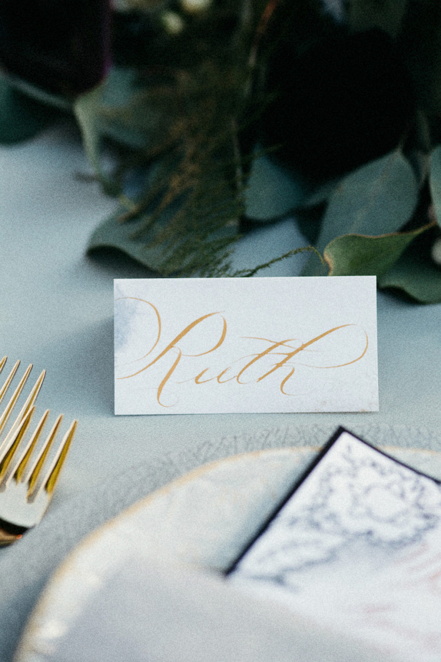 Style Shoot in Tuscany, Italy name card with gold calligraphy