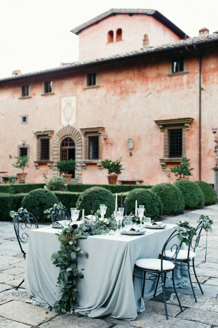 Style Shoot in Tuscany, Italy villa vignamaggio table with leaves