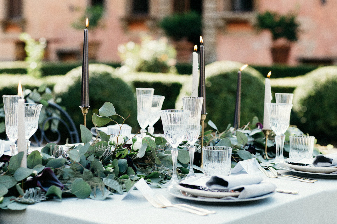 Style Shoot in Tuscany, Italy wedding decor idea for table setting with candles