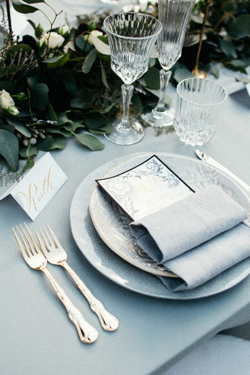 Style Shoot in Tuscany, Italy wedding decoration ideas with calligraphy menu and name card