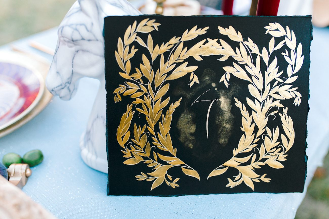 Custom Hand Painted Invitations black and gold table number