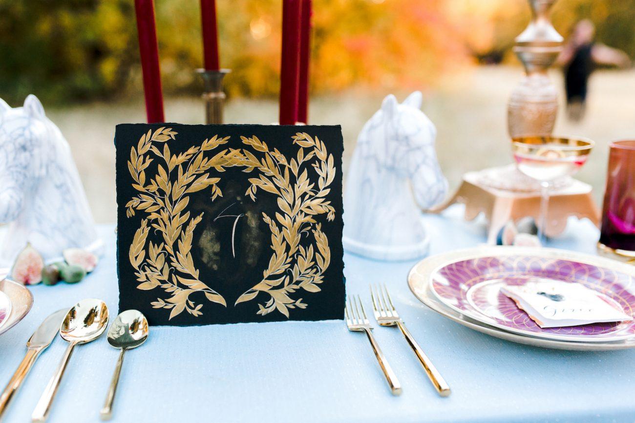 Custom Hand Painted Invitations black table number