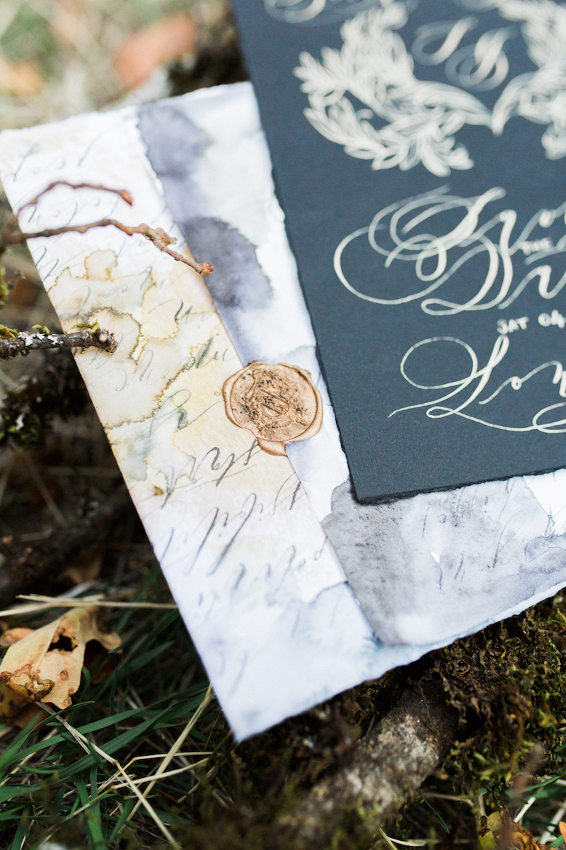 Custom Hand Painted Invitations gold wax seal stamp detail