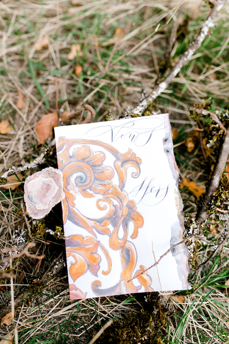 Custom Hand Painted Invitations vow book