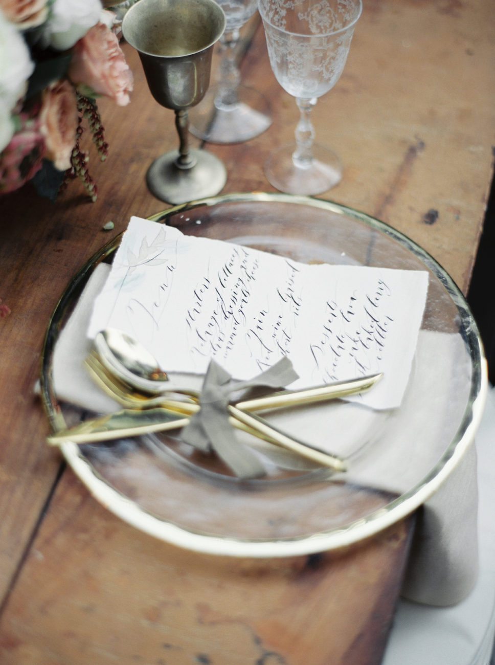 Neutral Wedding Inspiration_watercolour menu with calligraphy