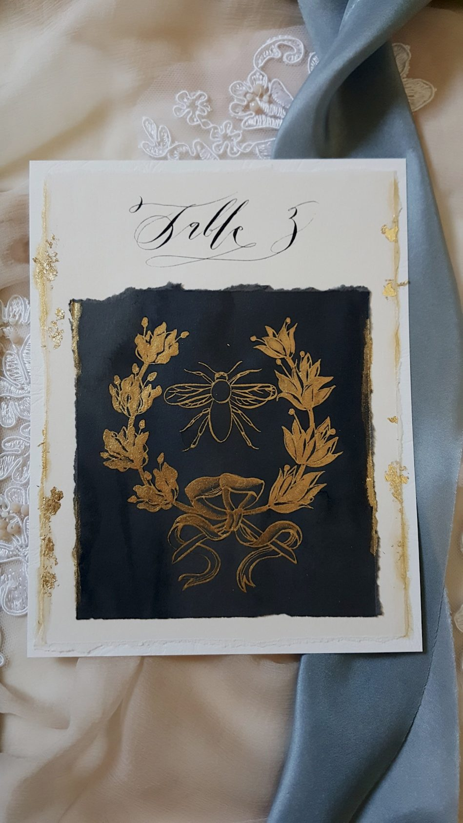French Wedding Invitations   (Hand Painted) Table Number