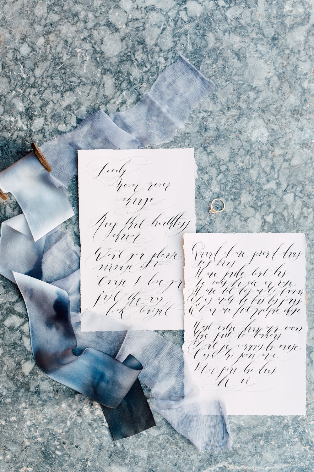 French Wedding Invitations Calligraphy Love Letters Crimson Letters