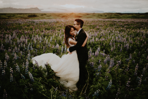 Best Destination Wedding Locations Iceland couple in a field of flowers