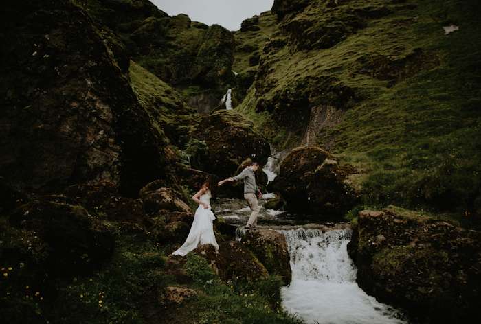 Best Destination Wedding Locations Iceland couple in the hills