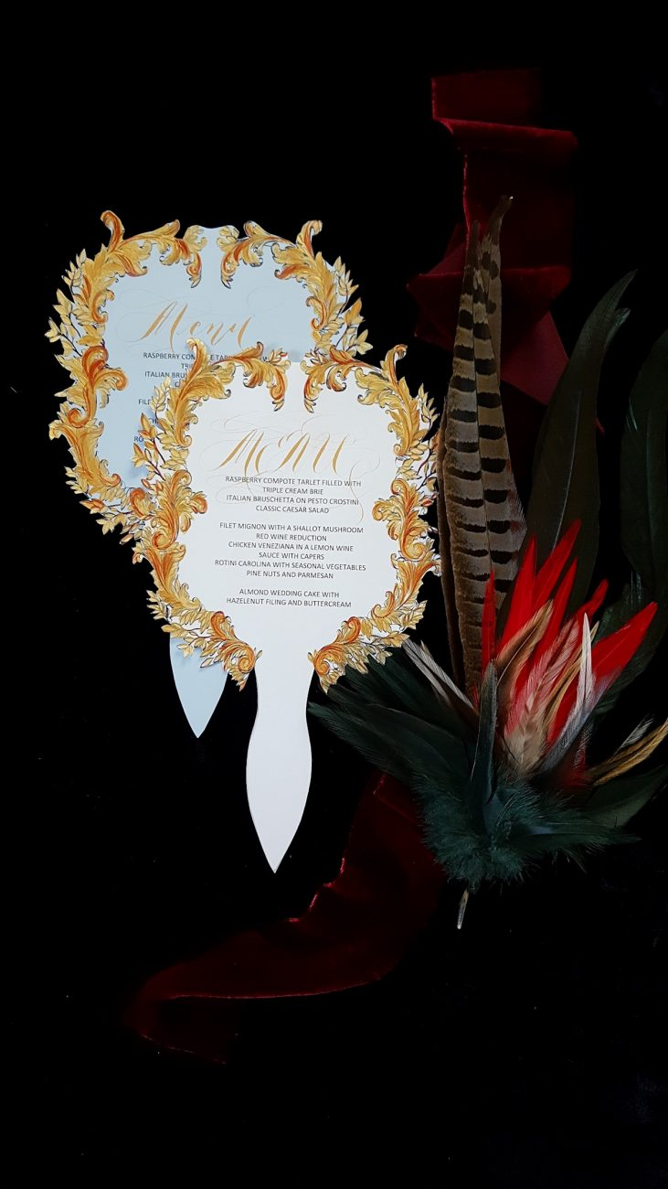 Couture Wedding Invitations fan shaped gold menus