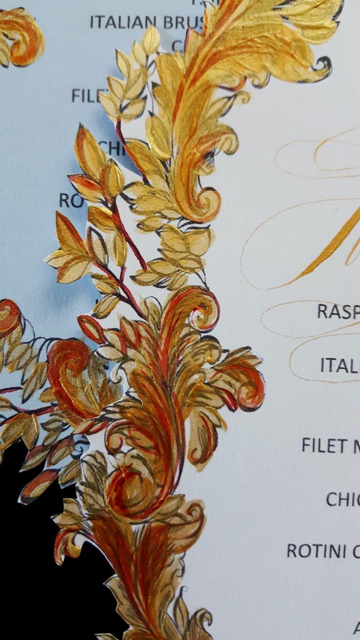 Couture Wedding Invitations fan shaped menu edge