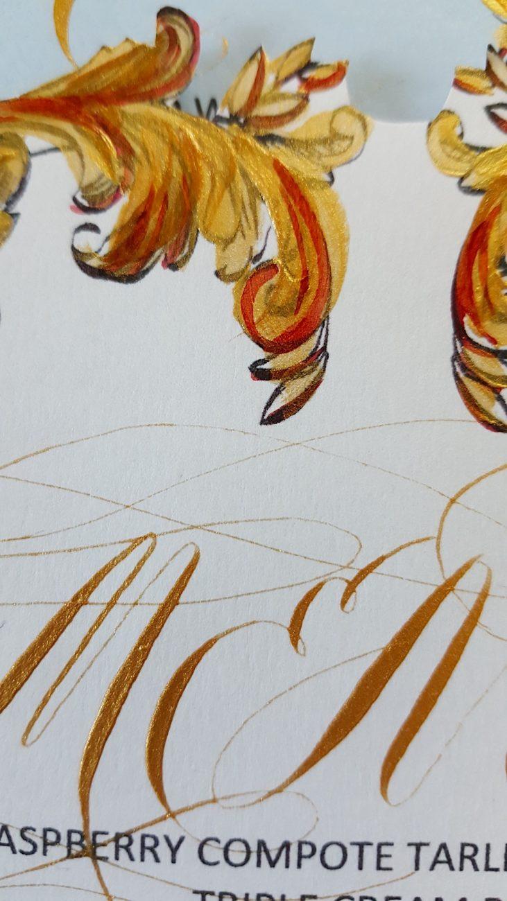 Couture Wedding Invitations menu calligraphy
