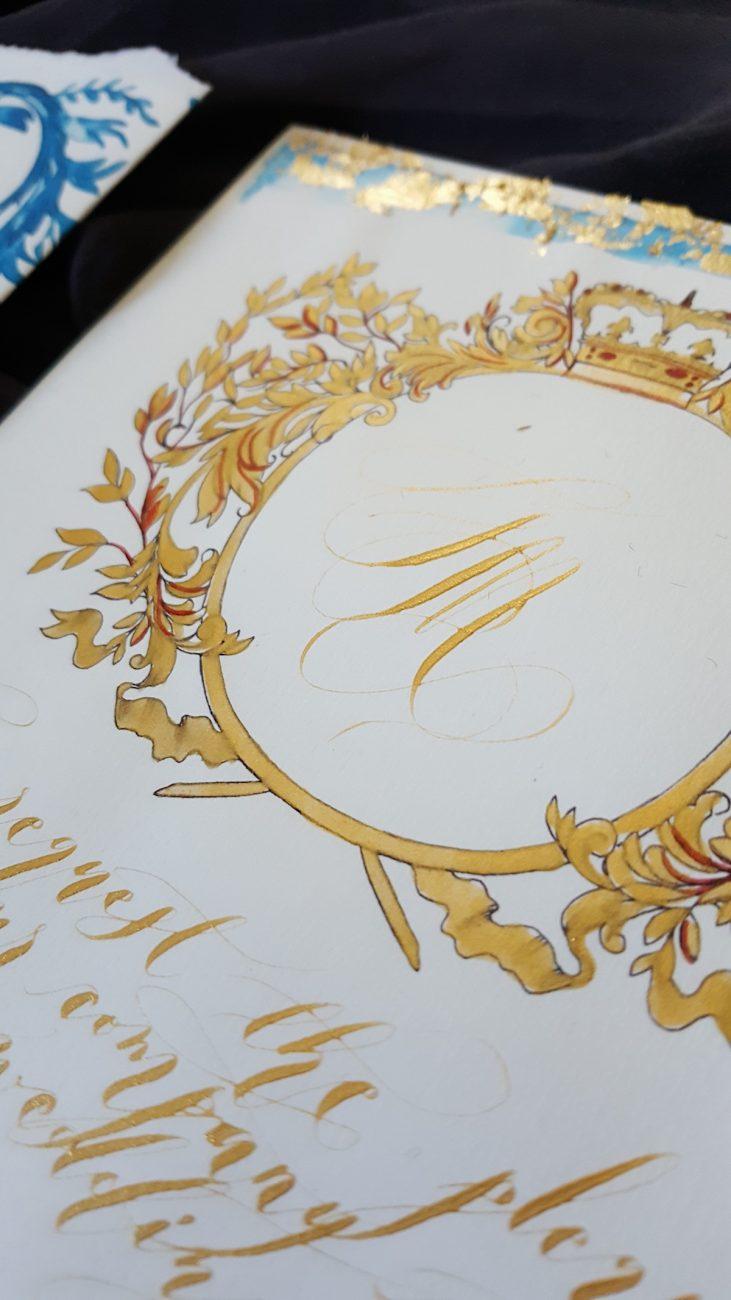 Couture Wedding Invitations monogram detail