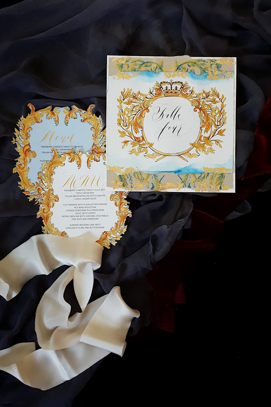 Couture Wedding Invitations ornate table number with fan shaped menus