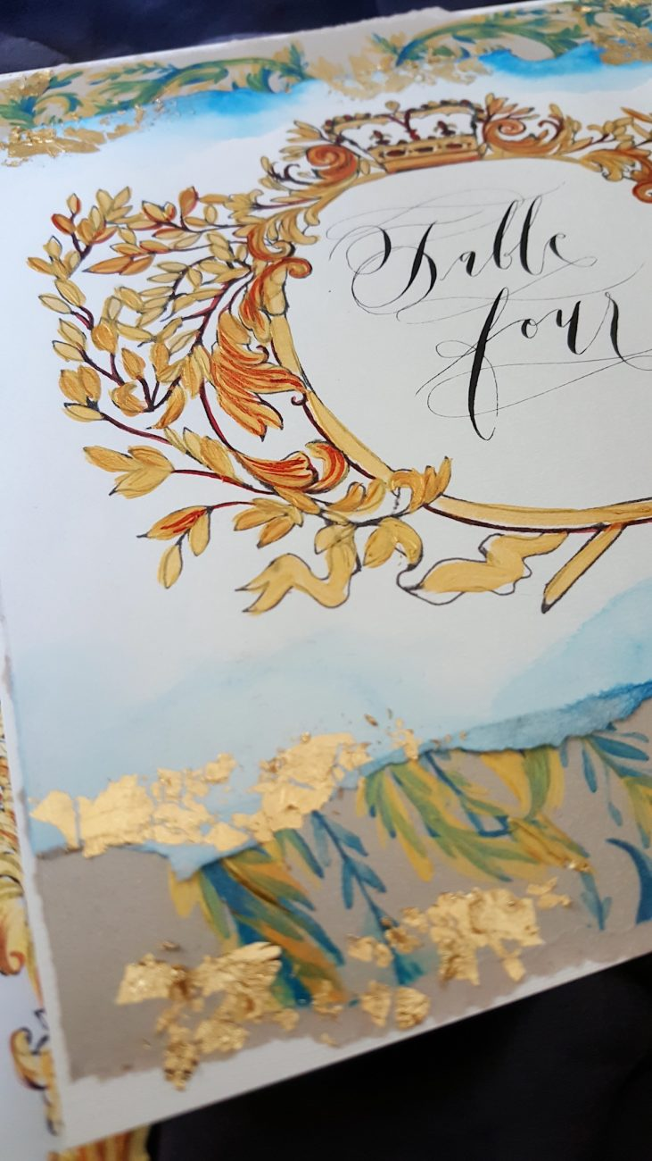 Couture Wedding Invitations ornate table number with gold foil