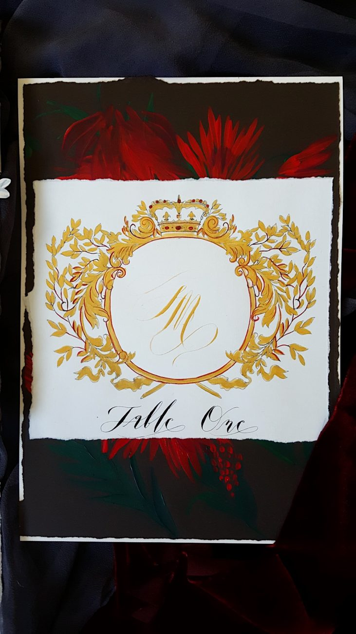 Couture Wedding Invitations table number with red flowers