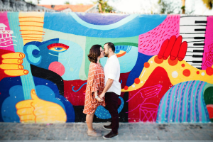 Destination Wedding Locations Brazil street art with couple kissing