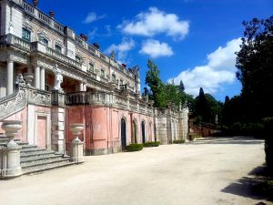 Destination Wedding Locations Queluz Palace back of the palace with gardens