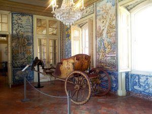 Destination Wedding Locations Queluz Palace carriage and tiles
