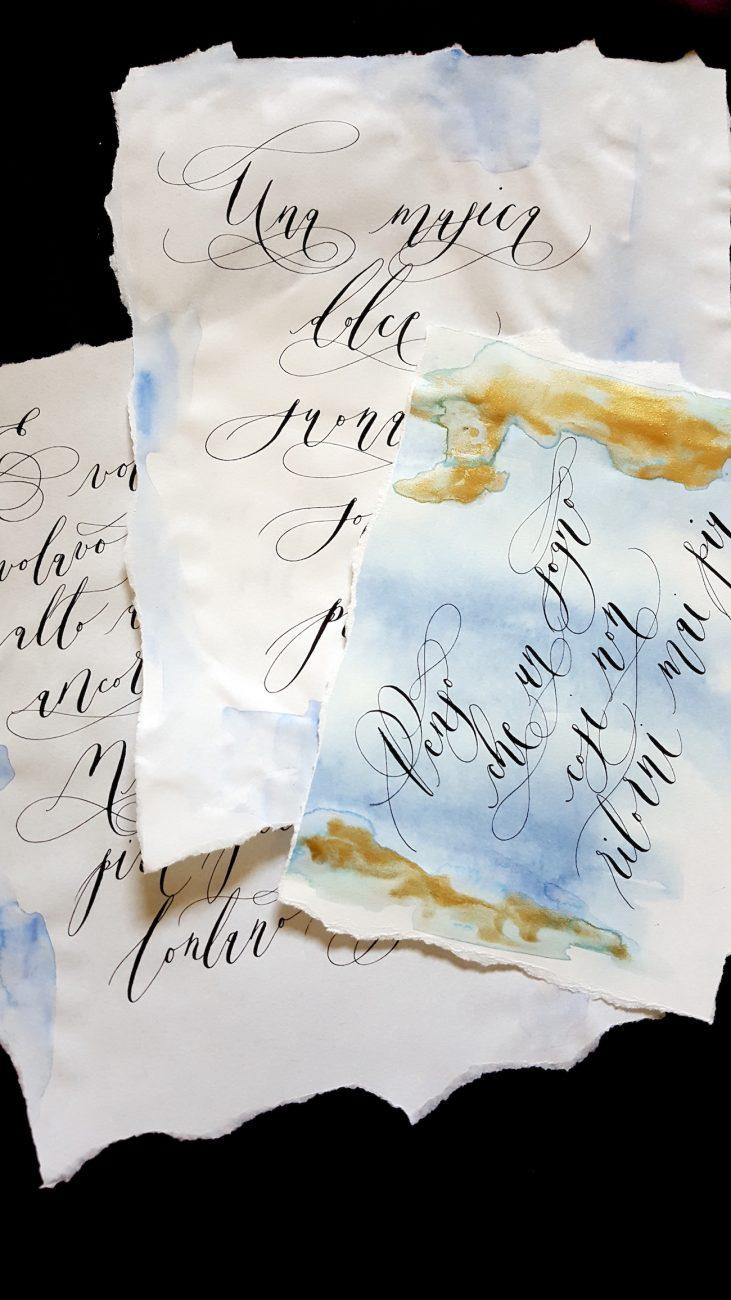 Italian Themed Wedding Invitations - calligraphy letters