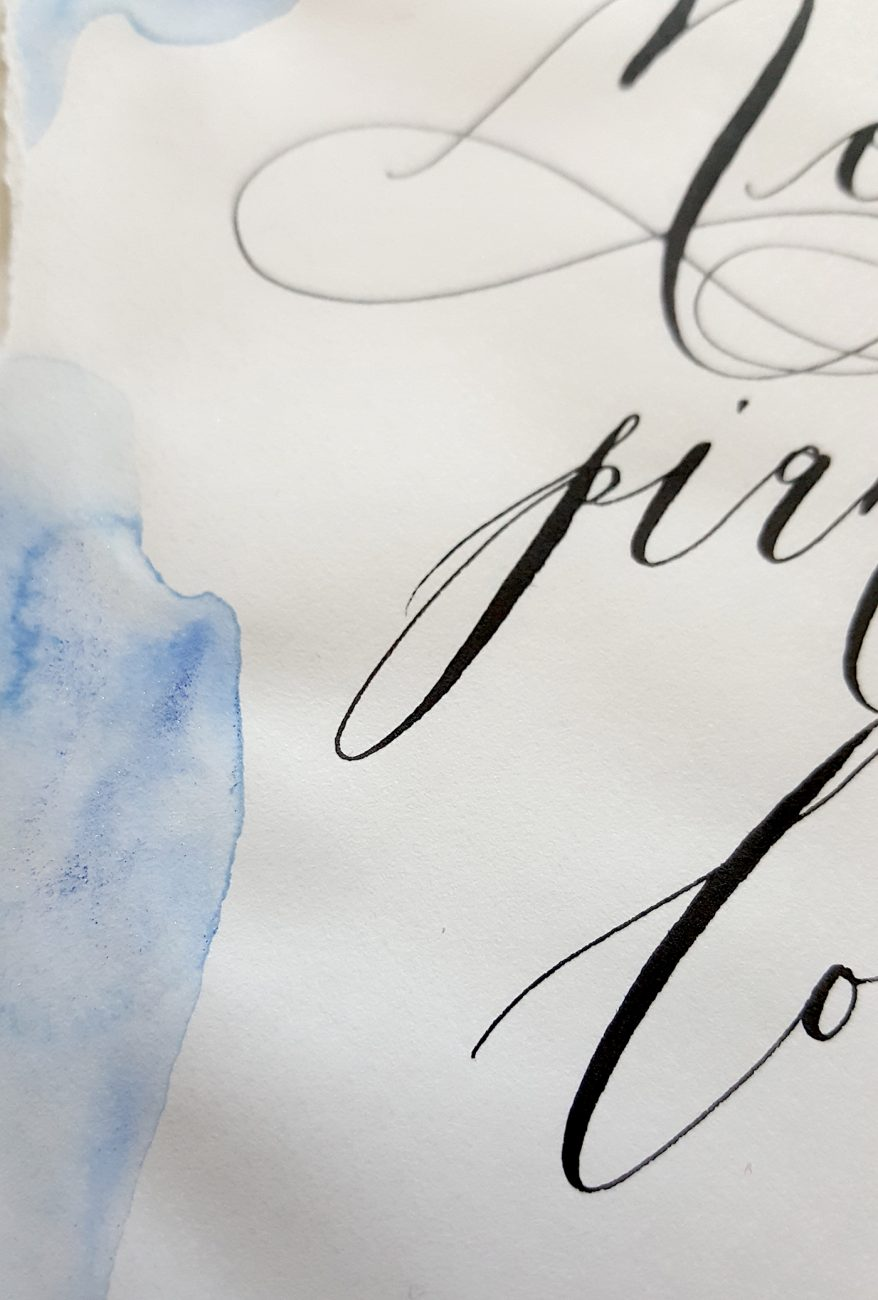 Italian Themed Wedding Invitations - calligraphy watercolour