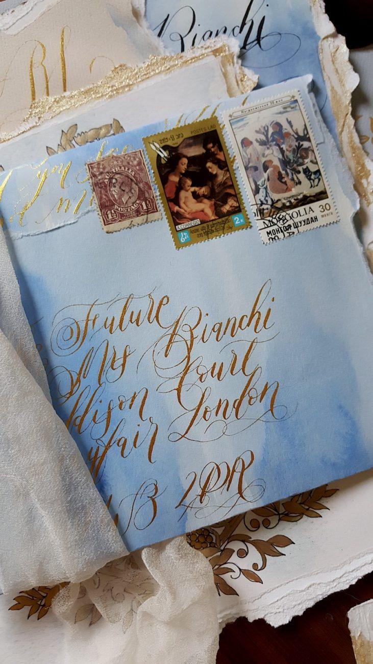 Italian Themed Wedding Invitations - envelope addressing in gold ink