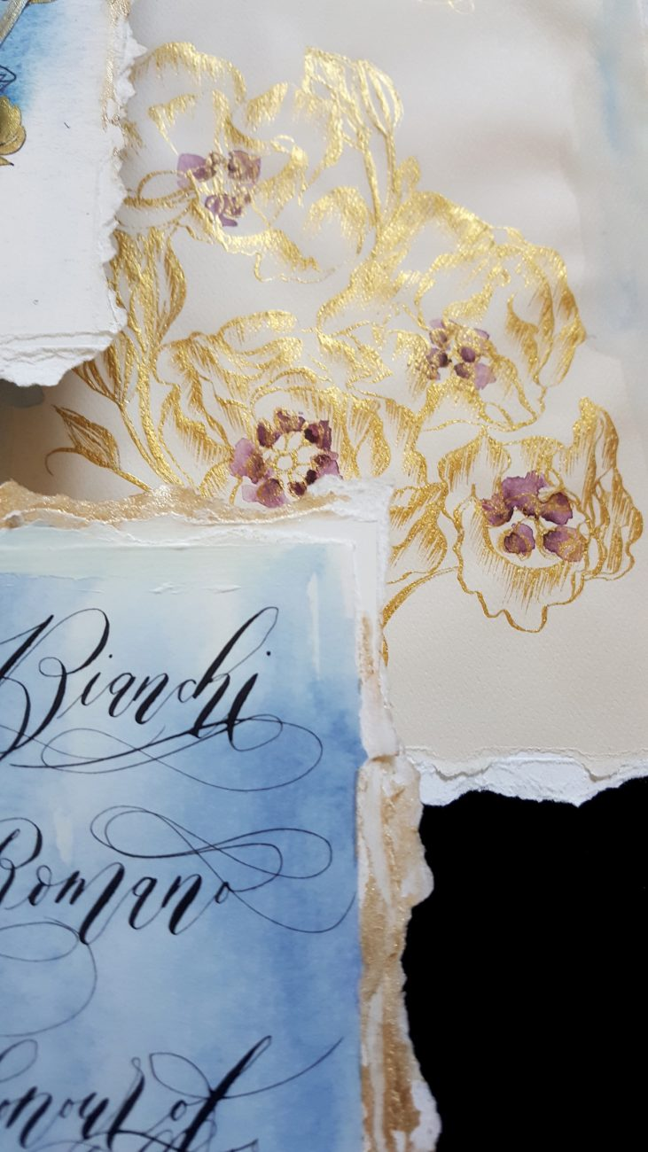 Italian Themed Wedding Invitations - gold illustration card detail