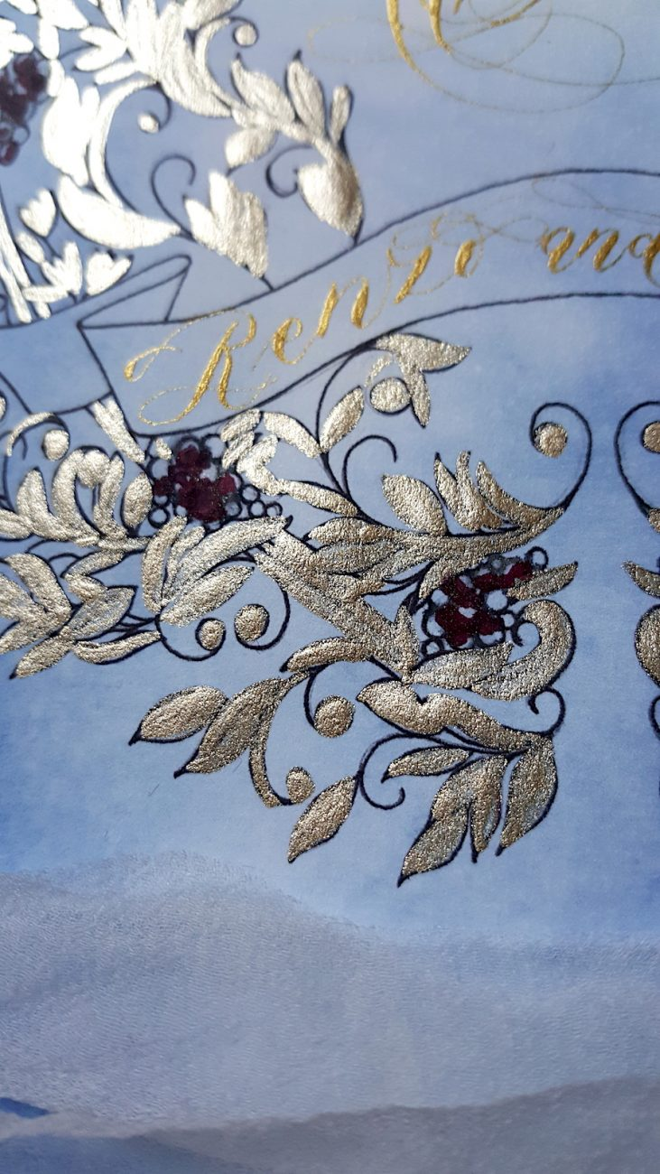 Italian Themed Wedding Invitations - invitation gold painted detail